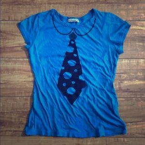 Tops - Black tie T-shirt